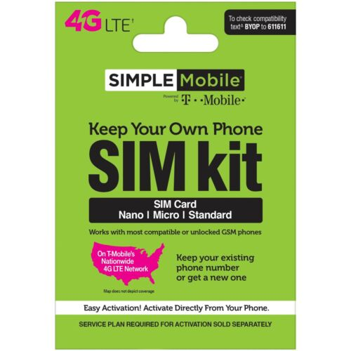 Simple Mobile Keep Your Own Phone 3-in-1 Prepaid SIM Card Kit - Mini Pack