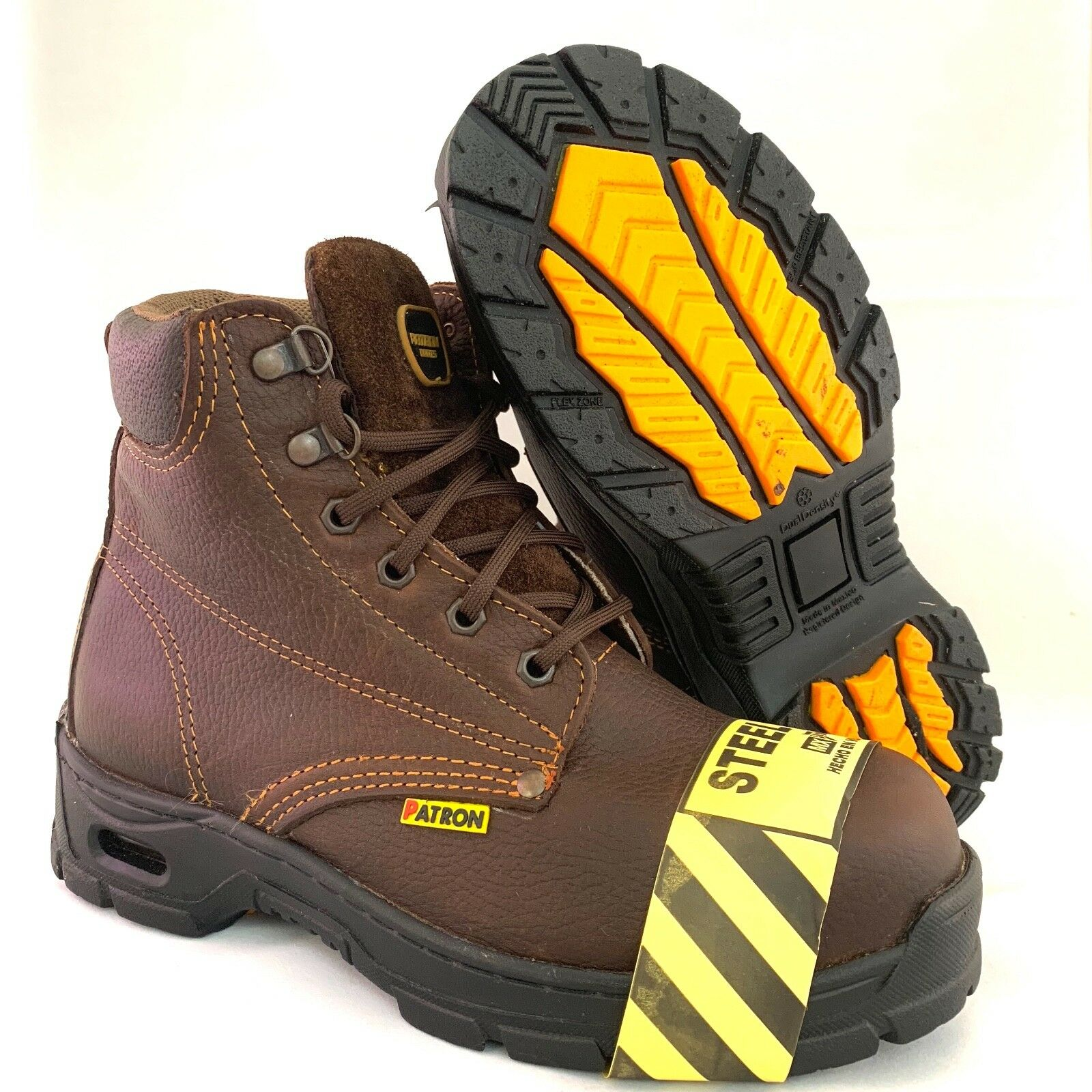MEN'S WORK BOOTS STEEL TOE GENUINE LEATHER LACE UP SAFETY OIL RESISTANT BROWN
