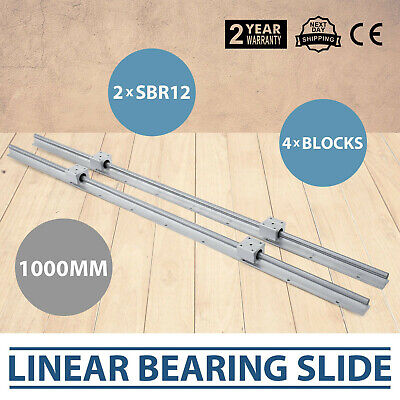 2xsbr12-1000mm Linear Rail Slide Guide Rod4sbr12uu Block Set Aluminium Unique