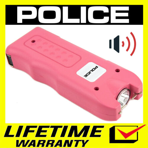 POLICE Stun Gun 628 PINK 650 BV Rechargeable LED Flashlight Siren Alarm
