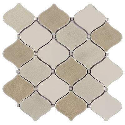 Modern Arabesque Beige White Glazed Porcelain Mosaic Tile Backsplash - Beige Porcelain