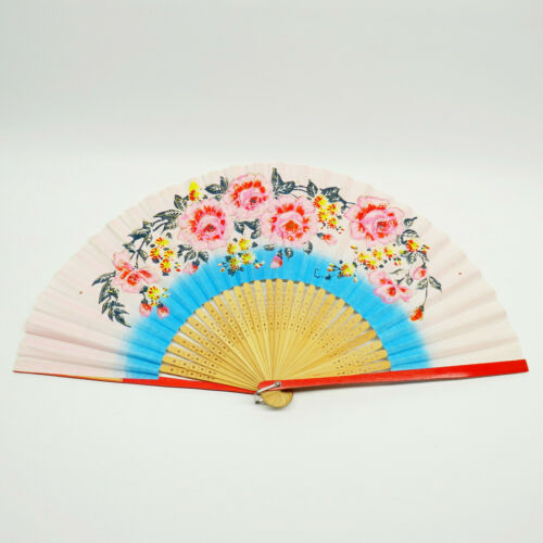 """Japanese Paper Hand Painting Flowers Bamboo Hand Carving Old Folded Fan 15"""""""