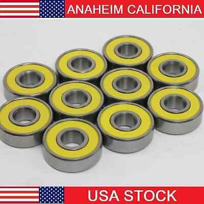 608-2rs Ball Bearing With Yellow Seals Pack Of 100 Wholesale Lot Skateskateboar