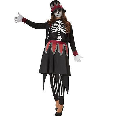 Kostüm Damen Skull Lady Skelett Tag der Toten Hut Fasching Karneval Halloween
