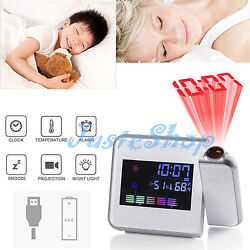 Digital LED Alarm Clock Multi-function Weather Projection Backlight Snooze US