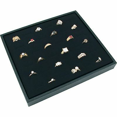 Black Ring Jewelry Display Case Box Large Tray Showcase