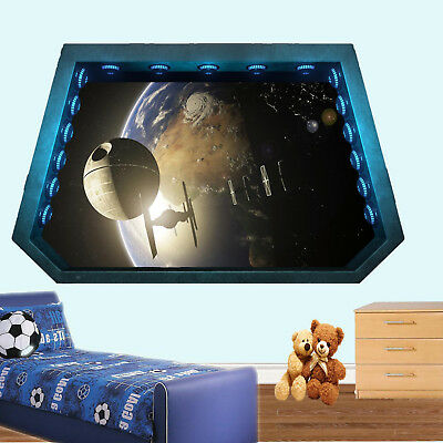 EARTH STAR SPACESHIP WARS WALL STICKERS 3D ART MURAL DECAL OFFICE HOME DECOR UL6