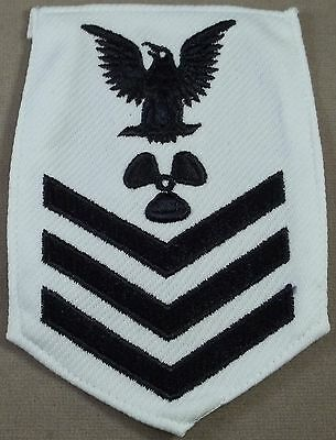 US Navy Petty Officer 1st Class Machinist's Mate - White Polyester Sleeve Rate