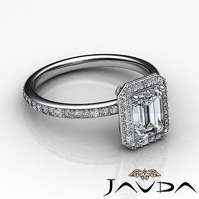 Halo Emerald Diamond Vinatge Engagement Ring GIA Certified H SI1 Platinum 2 ct 2