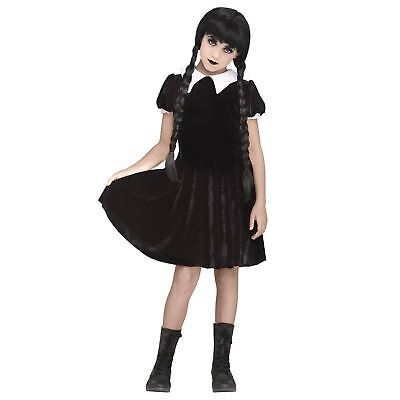Girl's Gothic Wednesday Addams Black Dress Halloween Costume Child Teen M L XL](Halloween Costume Teen Girls)