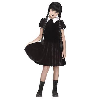 Girl's Gothic Wednesday Addams Black Dress Halloween Costume Child Teen M L XL](Baby Wednesday Addams Costume)