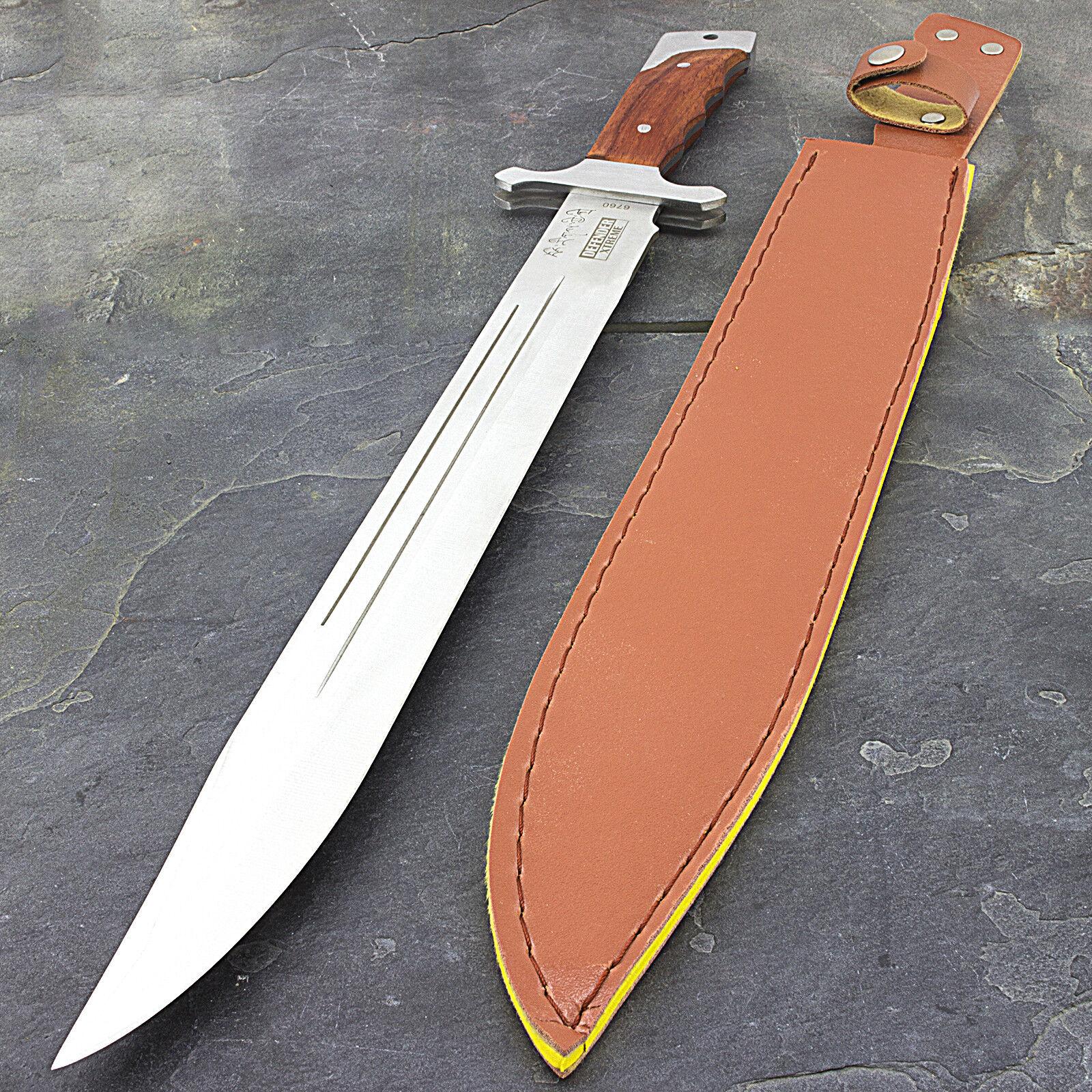 "18"" FULL TANG WOOD HANDLE SURVIVAL MACHETE Sword Combat Knife Medieval Hunting"