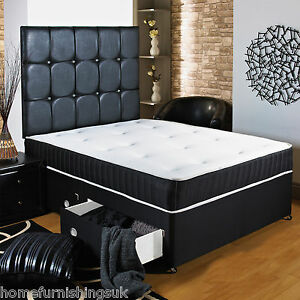 New 4ft Small Double Black Memory Soft Divan Bed Sprung Memory Foam Mattress Ebay