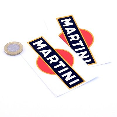 Martini Stickers Classic Car Rally Motorbike F1 Racing Vinyl Decals 100mm x2 for sale  Annan