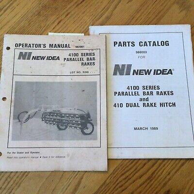 New Idea 4100 Series Parallel Bar Hay Rakes Parts Manual Operators Guide Books