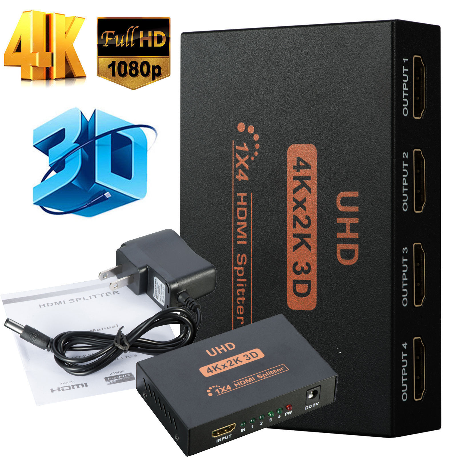 Full HD HDMI Splitter 1X4 4 Port Hub Repeater Amplifier v1.4 3D 1080p 1 in 4 out Consumer Electronics