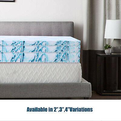 2 3 4 Inch Gel-Infused Memory Foam Mattress Topper Queen King Twin Full Blue New