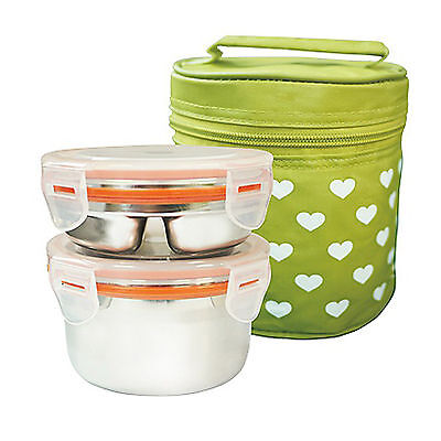 Stainless Steel 2 Food Container Circle Bento Lunch Box Storage Insulated Bag