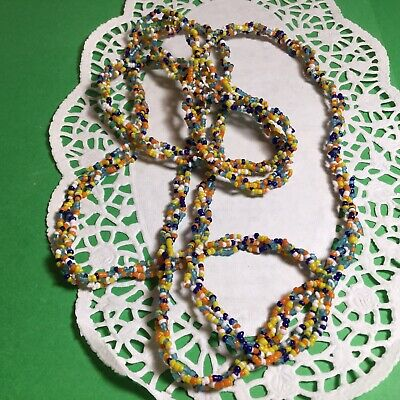 "PRETTY VINTAGE 52"" BRAIDED SEED BEED NECKLACE MULTICOLORED BEADS SO NICE - Beed Necklace"