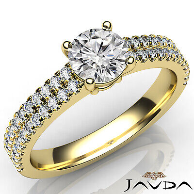 2 Row Shank French U Pave Round Diamond Engagement Ring GIA I Color VS2 1.21 Ct 5