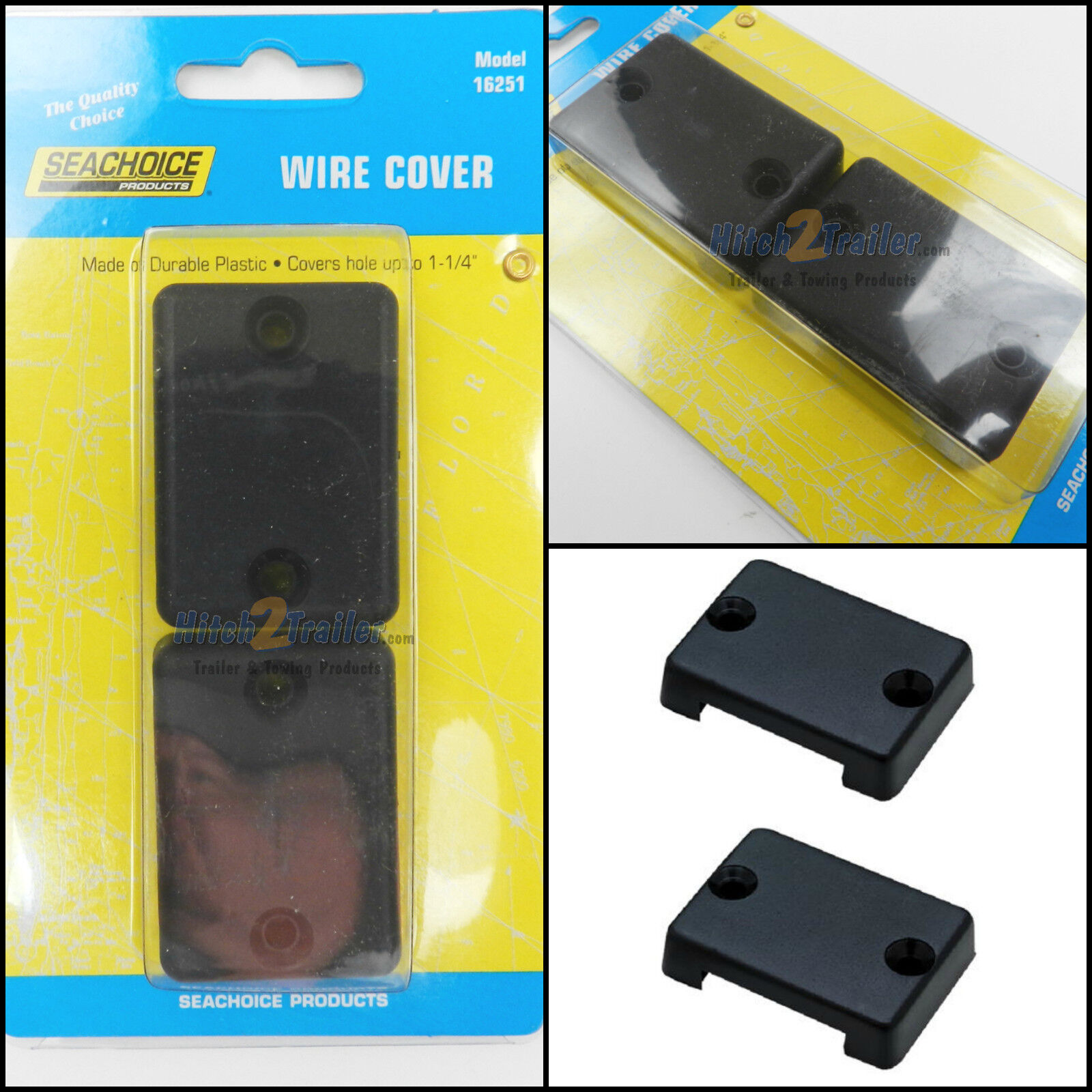 """2-Pack SeaChoice 16251 Black Plastic Wire or Cable Covers for Holes up to 1-1/4"""""""