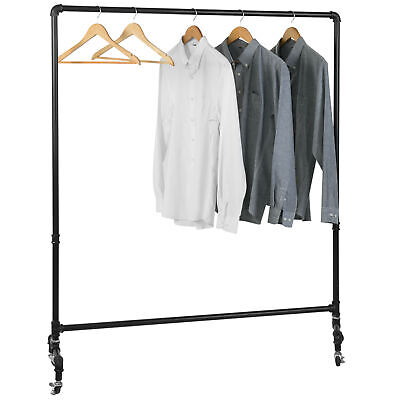 Mygift Industrial Pipe Rolling Retail Garment Hanging Rack With Locking Wheels