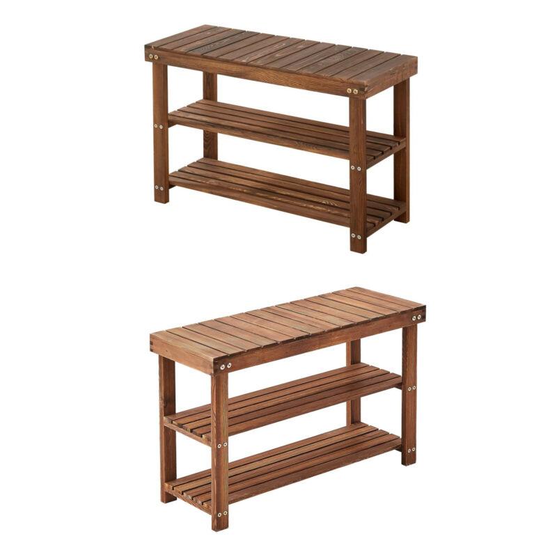 3-Tier Shoe Bench Rack Wood Organizer Durable Layer Shelf Holder Storage Can Sit