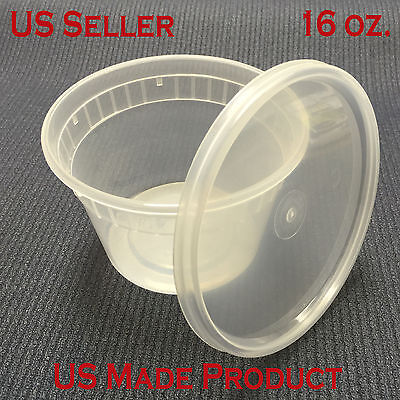 Deli Food Containers Round Soup Cup Plastic 16 Oz. With Lids 240 Sets