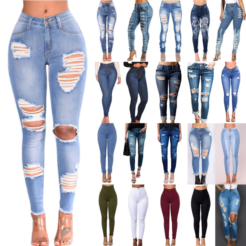 Women High Waisted Stretchy Skinny Denim Jeans Slim Ladies J