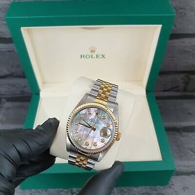 Gents Rolex Datejust in Stainless Steel & 18ct Gold with Black MOP Diamond Dial