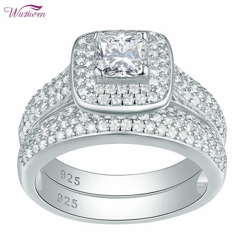 Wuziwen Wedding Engagement Ring Sets 2.8ct 925 Sterling Silver Princess Aaaa Cz