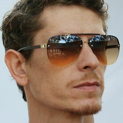 Oceanic Rimless Fashion Celebrity Aviator Sunglasses Gradient Lens Metal (Rimless Aviator Sunglasses)