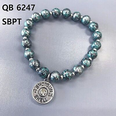 (Patina Colored Beads Bullet Shell Design Charm Stretchable Bangle Bracelet)