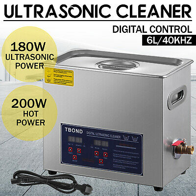 Commercial 6l Ultrasonic Cleaner Industry Heated Heater Wtimer Jewelry Glasses