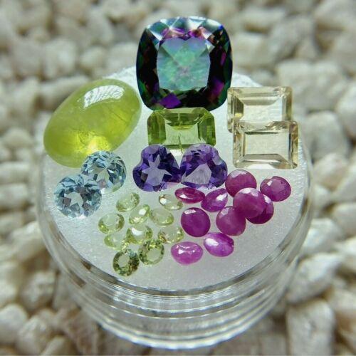 Mixed Loose Gemstone Lot Quartz Sphene Citrine Peridot Amethyst Ruby Topaz