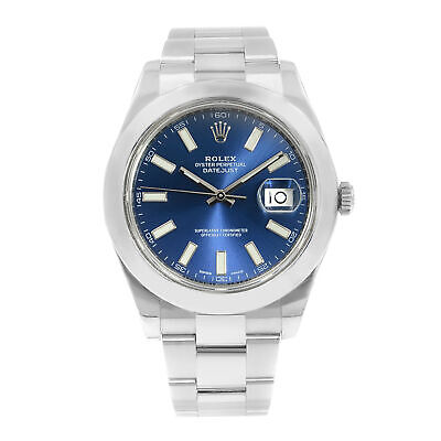 Rolex Datejust II 41mm Blue Baton Dial Steel Automatic Mens Watch 116300