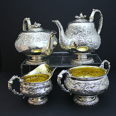 GEORGE III FABULOUS ANTIQUE STERLING SILVER COFFEE AND TEA SET LONDON 1822c.