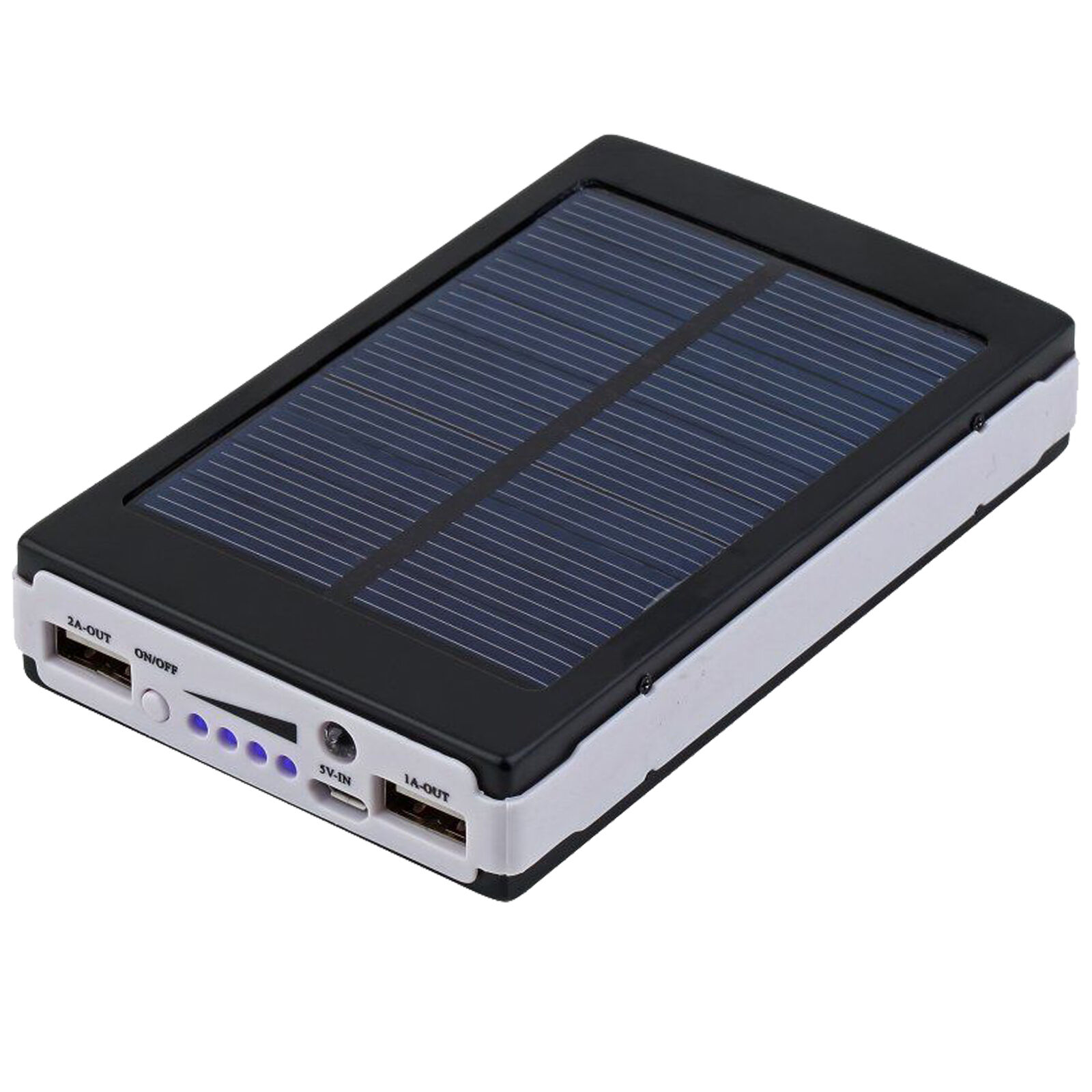 Black 80000mAh Dual USB Portable Solar Battery Charger Power