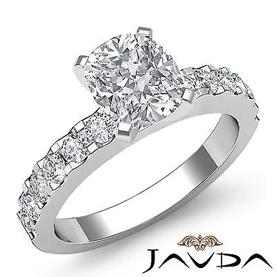 Shared Prong Women's Cushion Diamond Engagement Ring GIA Certified F SI1 1.47Ct