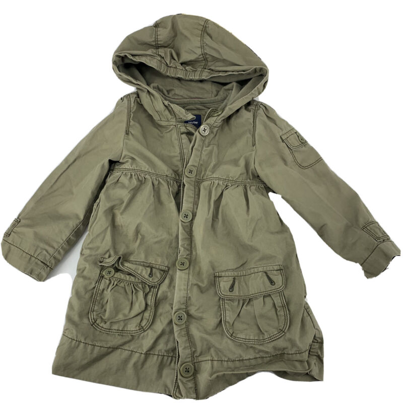 Gap Size 3T Button Down Parka Toddler Girls Coat  Hooded Cotton