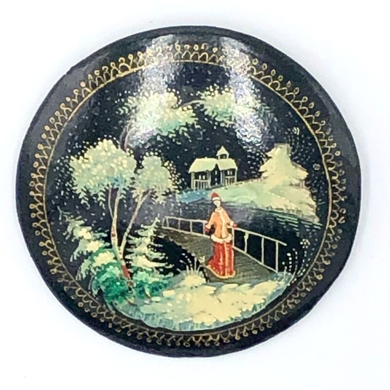 Vintage Hand Painted Russian Laquered Brooch Pin Woman in Snow Scene Winter