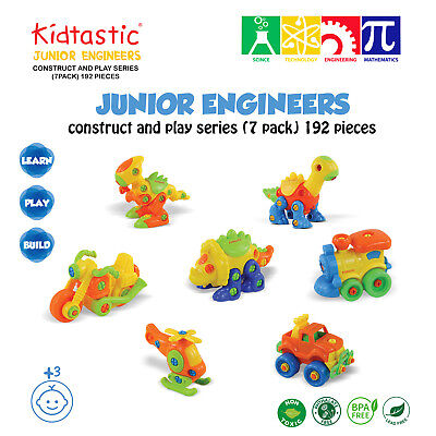 Kidtastic Set of 7 Take Apart Toys - STEM Building Set - 192 pieces