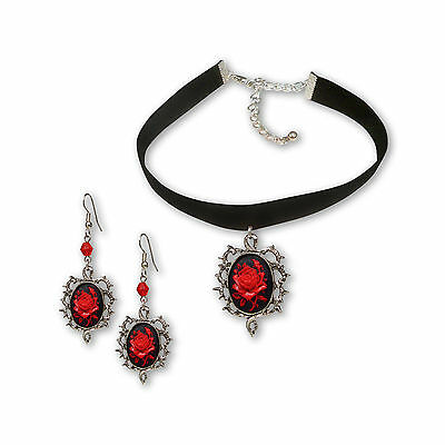 Gothic Red Rose Cameo Black Velvet Choker and Dangle Earrings Jewelry Gift Set