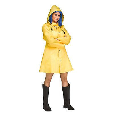 Womens Yellow Raincoat Jacket Georgie IT Coraline Morton Salt Halloween Costume