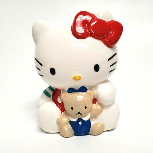 "4"" Hello Kitty w/ Teddy Bear Ceramic Coin Bank w/ Stopper Rare Vintage Gift"