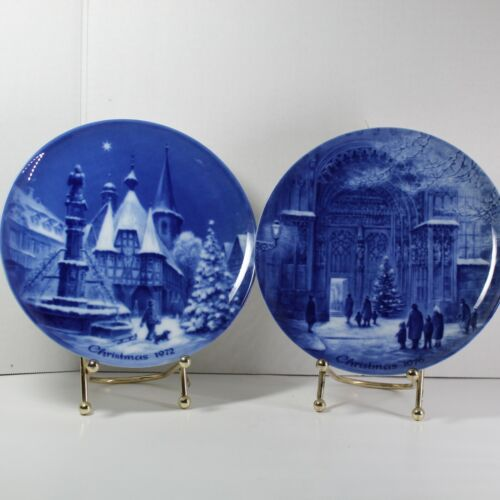 Vintage German Christmas Eve Collector Plates Michelstadt and Augsburg Set of 2