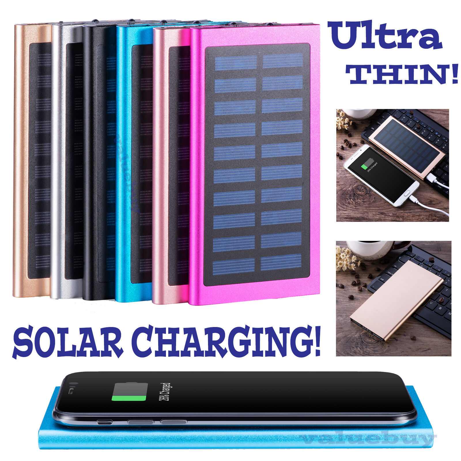 900000mAh Slim 2 USB Portable Battery Charger Solar Power Bank For Phone Cell Phone Accessories