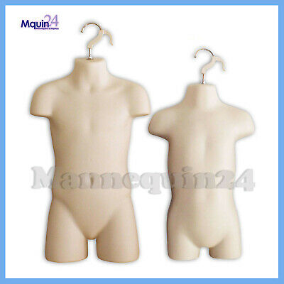 Toddler Child Torso Hanging Mannequin Set With Hangers - Flesh Kids Forms
