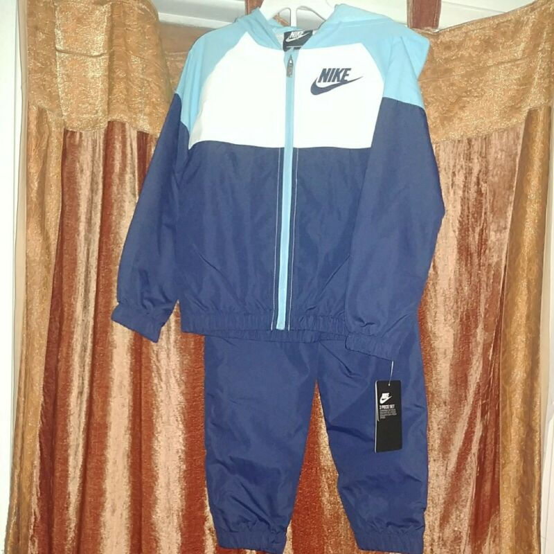 NWT Nike Boys Toddler Sportswear Windrunner Jogger Pants Set Size 4T Blue NWT