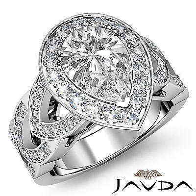 Halo V Shaped Split Shank Pear Diamond Engagement Filigree Ring GIA H VS2 2.29Ct